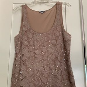 Rose colored sequin tank top